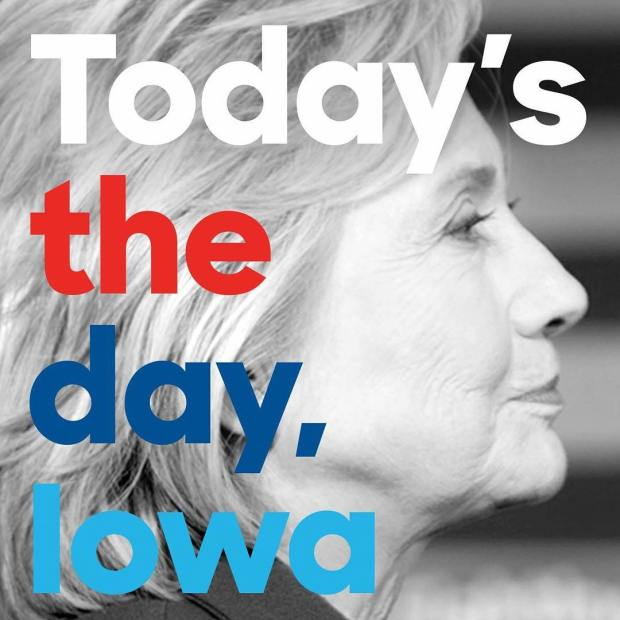 It's Iowa Caucus day! If you're standing with Hillary, double tap to let her know. #ImWithHer